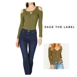 🆕Sage The Label Knit Green Bodysuit Size M